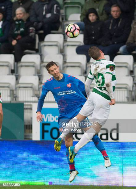 Action from the Danish Alka Superliga match between Viborg FF and AaB Aalborg at Energi Viborg Arena on March 19 2017 in Viborg Denmark
