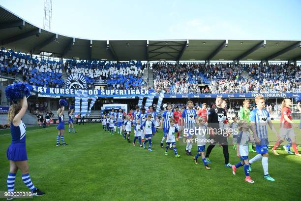 Action from the Danish Alka Superliga Playoff match between Esbjerg fB and Silkeborg IF at Blue Water Arena on May 27 2018 in Esbjerg Denmark