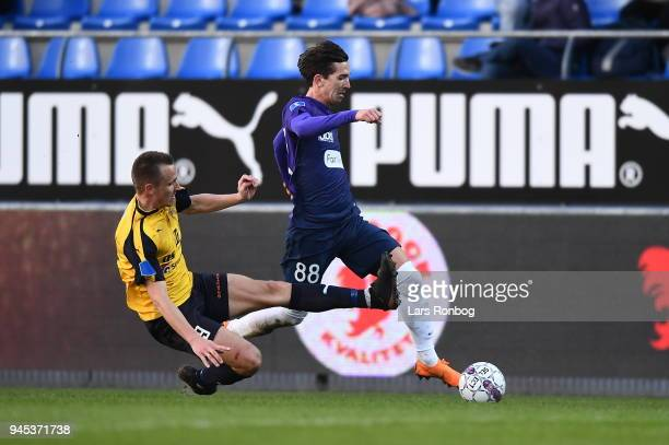 Action from the Danish DBU Pokalen Cup quarterfinal match between Hobro IK and FC Midtjylland at DS Arena on April 12 2018 in Hobro Denmark