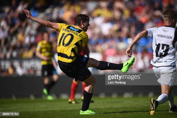 Action from the Danish NordicBet LIGA 1 division match between Hobro IK and FC Vendsyssel at DS Arena on May 27 2017 in Hobro Denmark