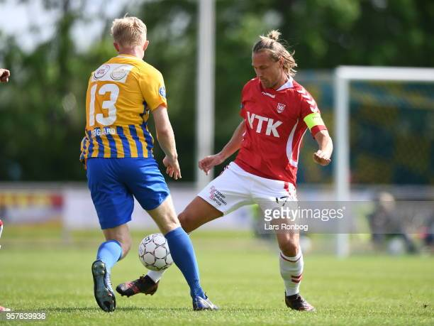 Action from the Danish NordicBet Liga match between Skive IF and Vejle Boldklub at Spar Nord Arena on May 12 2018 in Skive Denmark