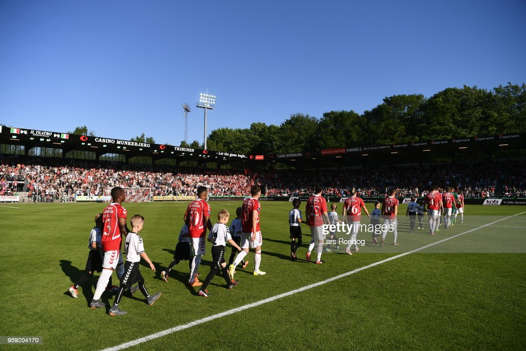 Action from the Danish NordicBet Ligfa match between Vejle Boldklub and FC Fredericia at Vejle Stadion on May 16, 2018 in Vejle, Denmark.