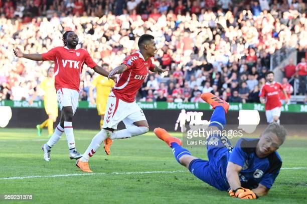 Action from the Danish NordicBet Ligfa match between Vejle Boldklub and FC Fredericia at Vejle Stadion on May 16 2018 in Vejle Denmark