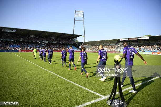 The players of FC Midtjylland walk on to the pitch prior to the Danish Superliga match between AaB Aalborg and FC Midtjylland at Aalborg Portland...