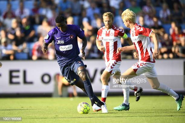 Action from the Danish Superliga match between AaB Aalborg and FC Midtjylland at Aalborg Portland Park on July 20 2018 in Aalborg Denmark