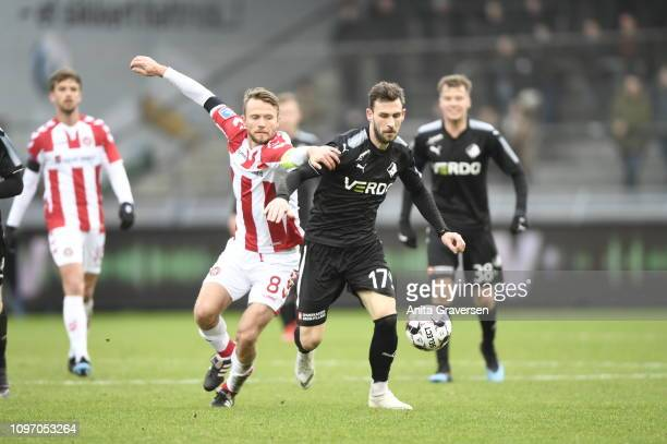 Action from the Danish Superliga match between AaB Aalborg and Randers FC at Aalborg Portland Park on February 10 2019 in Aalborg Denmark
