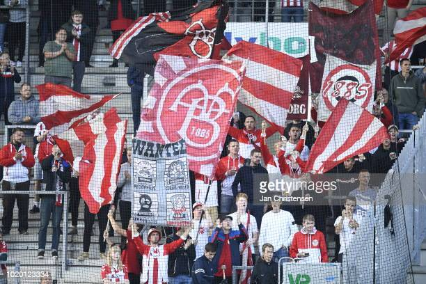 Fans of AaB Aalborg prior to the Danish Superliga match between AC Horsens and AaB Aalborg at Casa Arena Horsens on August 20 2018 in Horsens Denmark