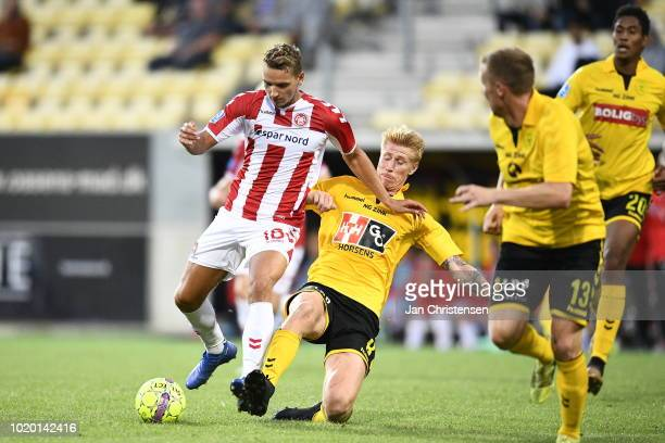 Action from the Danish Superliga match between AC Horsens and AaB Aalborg at Casa Arena Horsens on August 20 2018 in Horsens Denmark