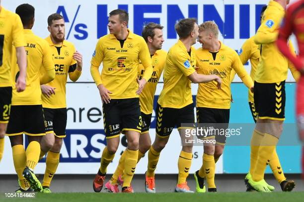 Action from the Danish Superliga match between AC Horsens and FC Nordsjalland at CASA Arena on October 27 2018 in Horsens Denmark