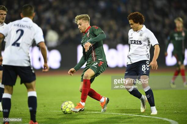 Action from the Danish Superliga match between AGF Arhus and AaB Aalborg at Ceres Park on October 21 2018 in Arhus Denmark