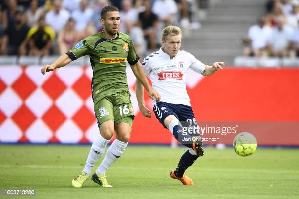 Action from the Danish Superliga match between AGF Arhus and FC Nordsjalland at Ceres Park on July 22 2018 in Arhus Denmark
