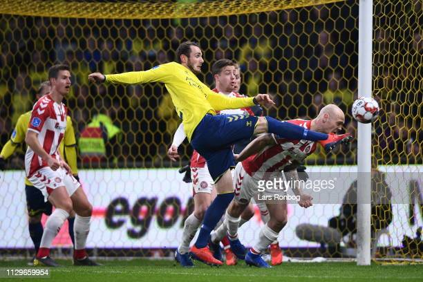 Action from the Danish Superliga match between Brondby IF and AaB Aalborg at Brondby Stadion on March 10 2019 in Brondby Denmark
