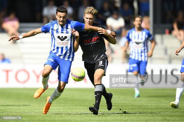Daniel Anyembe of Esbjerg fB in action during the Danish Superliga match between Esbjerg fB and Vendsyssel FF at Blue Water Arena on July 21 2018 in...