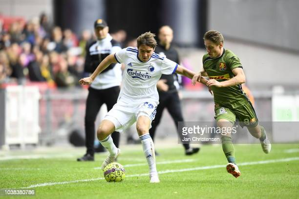 Karlo Bartolec of FC Nordsjalland and Nicolai Boilesen of FC Copenhagen compete for the ball during the Danish Superliga match between FC Copenhagen...