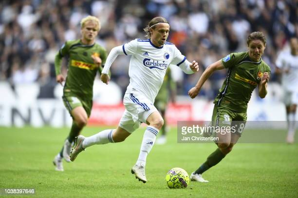 Action from the Danish Superliga match between FC Copenhagen and FC Nordsjalland at Telia Parken Stadium on September 23 2018 in Copenhagen Denmark
