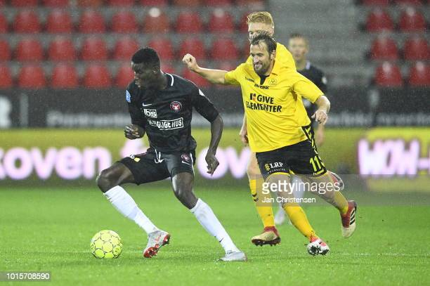 Action from the Danish Superliga match between FC Midtjylland and AC Horsens at MCH Arena on August 12 2018 in Herning Denmark