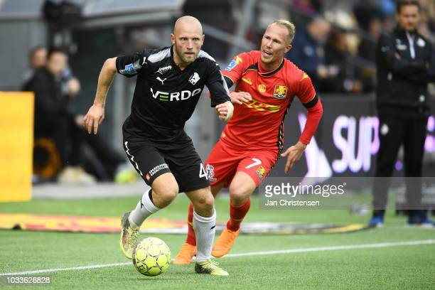 Action from the Danish Superliga match between FC Nordsjalland and Randers FC at Right to Dream Park on September 15 2018 in Farum Denmark