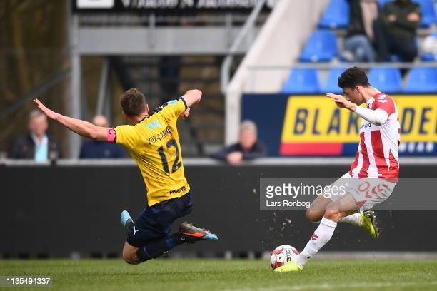 Action from the Danish Superliga match between Hobro IK and AaB Aalborg at DS Arena on April 7 2019 in Hobro Denmark