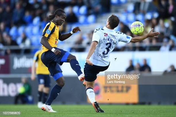Action from the Danish Superliga match between Hobro IK and AGF Aarhus at DS Arena on August 24 2018 in Hobro Denmark