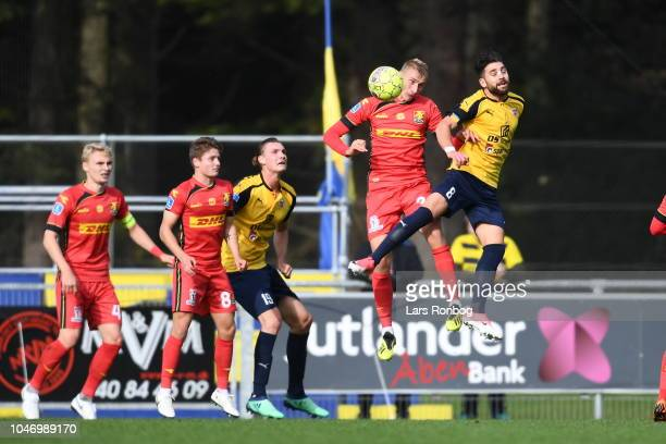 Action from the Danish Superliga match between Hobro IK and FC Nordsjalland at DS Arena on October 7 2018 in Hobro Denmark