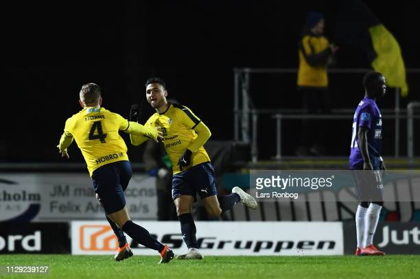 Action from the Danish Superliga match between Hobro IK and FC Midtjylland at DS Arena on March 8 2019 in Hobro Denmark