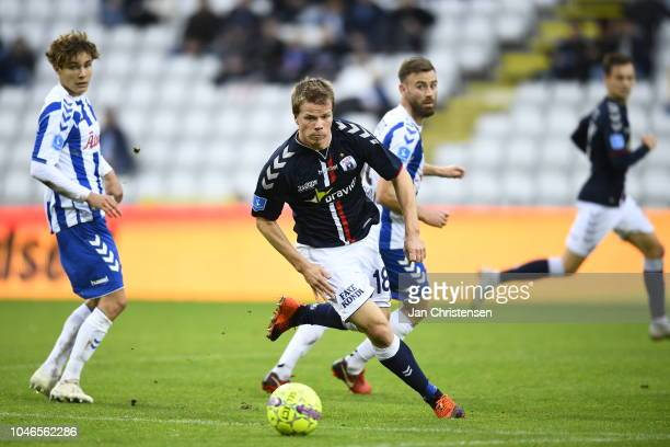 Action from the Danish Superliga match between OB Odense and AGF Arhus at Nature Energy Park on October 06 2018 in Odense Denmark