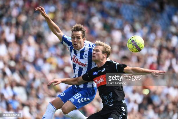 Action from the Danish Superliga match between OB Odense and Sonderjyske at Nature Energy Park on July 22 2018 in Odense Denmark