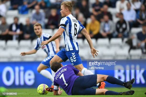 Action from the Danish Superliga match between OB Odense and FC Midtjylland at Nature Energy Park on August 19 2018 in Odense Denmark