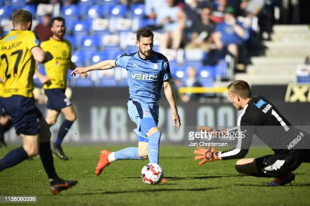 Action from the Danish Superliga match between Randers FC and Hobro IK at Cepheus Park Randers on April 19 2019 in Randers Denmark