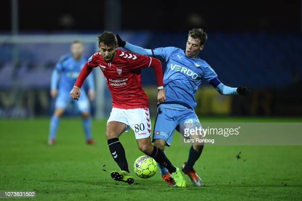 Action from the Danish Superliga match between Randers FC and Vejle Boldklub at Cepheus Park on December 15 2018 in Randers Denmark