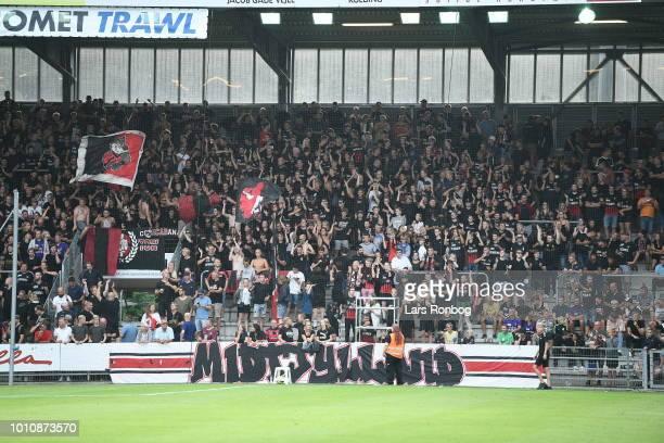 Action from the Danish Superliga match between Vejle Boldklub and FC Midtjylland at Vejle Stadion on August 4 2018 in Vejle Denmark