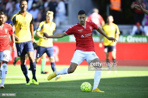Action from the Danish Superliga match between Vejle Boldklub and Hobro IK at Vejle Stadion on July 13 2018 in Vejle Denmark