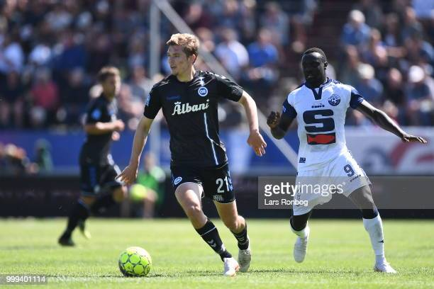 Emmanuel Ogude and Moses Opondo of Vendsyssel FF celebrate after scoring their third goal during the Danish Superliga match between Vendsyssel FF and...