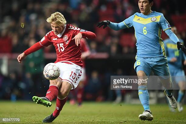 Action from the FIFA 2018 World Cup Qualifier match between Denmark and Kazakhstan at Telia Parken Stadium on November 11 2016 in Copenhagen Denmark