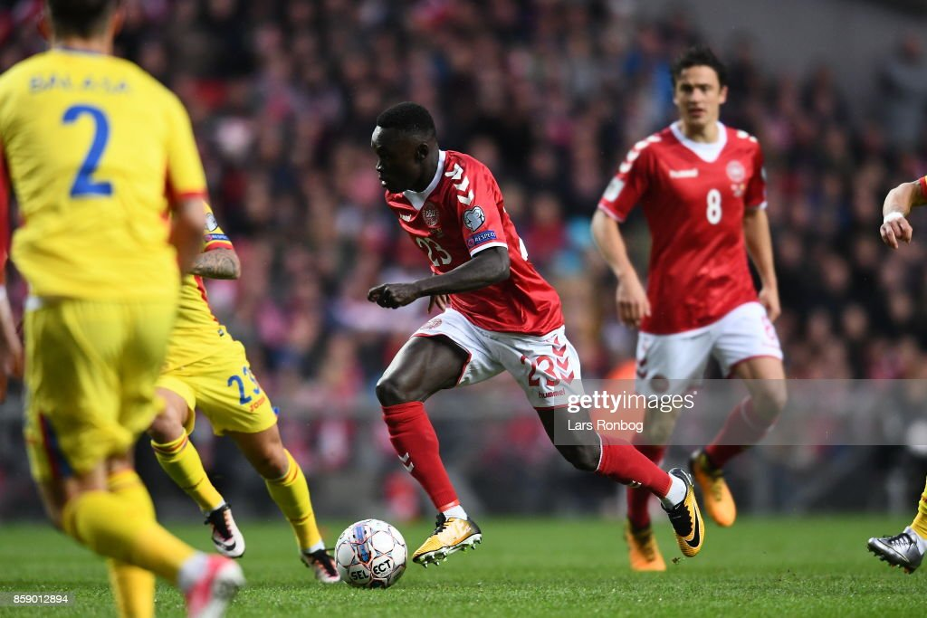 Action from the FIFA World Cup 2018 qualifier match between Denmark and Romania at Telia Parken Stadium on October 8, 2017 in Copenhagen, Denmark.