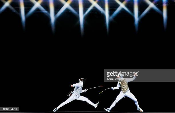 Action from the final of the invitational men's team foil competition between Great Britain and Russia at the Excel exhibition centre on November...
