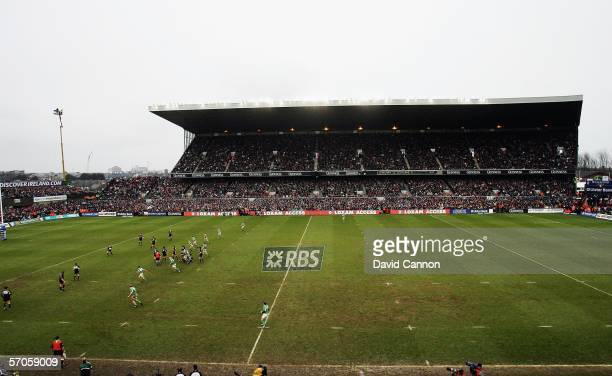 Action from the grandstand Ireland during the second half of the final RBS Six Nations match to be held at Lansdowne Road, on March 11 2006, Dublin,...