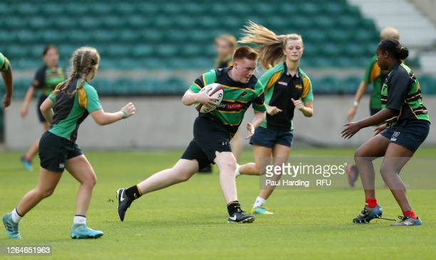 Action from the launch of Ready4Rugby the non contact return to community rugby at Twickenham Stadium on August 08 2020 in London England