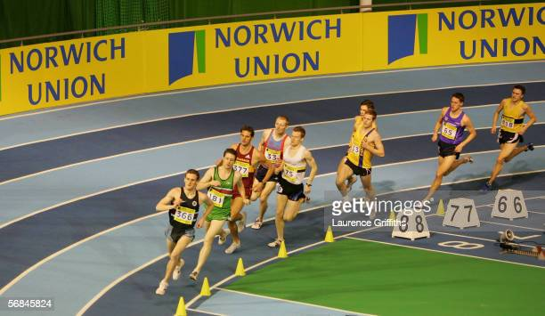 Action from the Mens 1500m Final during the Norwich Union World Trials AAA Championships at The English Institute of Sport on February 12 2006 in...