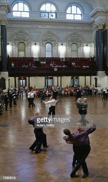 Action from the Mens Graded Modern Dance competition at the Sydney 2002 Gay Games held in the Sydney Town Hall Sydney Australia November 04 2002