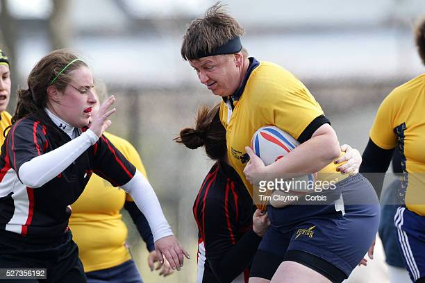 Action from the Norfolk V Brandywine Women's Rugby match during the Four Leaf 15's Club Rugby Tournament at Randall's Island New York The tournament...