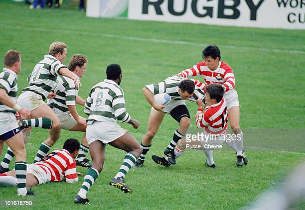 Action from the pool stage match between Japan and Zimbabwe during the 1991 Rugby World Cup at the Ravenhill Stadium Belfast 14th October 1991 Japan...