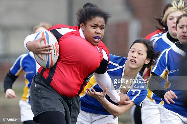 Action from the Rutgers V Hofstra Women's University Rugby match during the Four Leaf 15's Club Rugby Tournament at Randall's Island New York The...