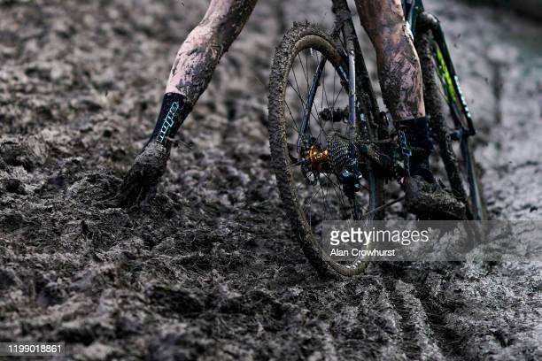 Action from the Senior & Junior's Womens Trophy Race as they make their way around the muddy course during the HSBC UK National Cyclo-Cross...