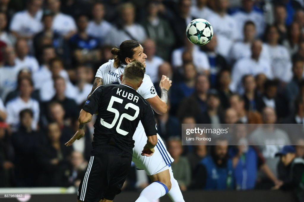 Action from the UEFA Champions League Playoff 2nd Leg match between FC Copenhagen and Qarabag FK at Telia Parken Stadium on August 23, 2017 in Copenhagen, Denmark.