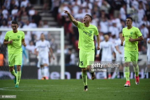 Action from the UEFA Champions League Qualification match between FC Copenhagen and MSK Zilina at Telia Parken Stadium on July 19, 2017 in...