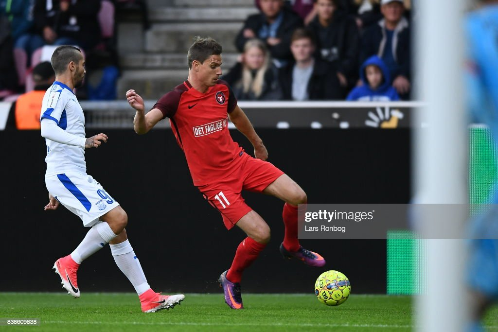 Action from the Europa League Playoff 2nd Leg match between FC Midtjylland and Apollon Limassol at MCH Arena on August 24, 2017 in Herning, Denmark.