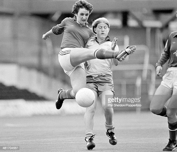Action from the Women's FA Cup Final between Lowestoft and Cleveland held at Loftus Road 3rd May 1982 Lowestoft beat Cleveland 20 to win the cup...