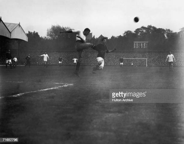 Action from Woolwich Arsenal vs Bury at the Arsenal Stadium in Highbury 4th October 1913 during the first season at the club's new home in North...