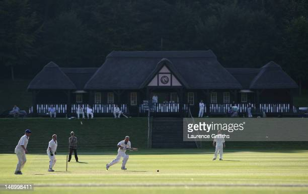 Action from Wormsley Cricket Club set in the beautiful grounds of the Getty estate on July 30 2008 in Wormsley England